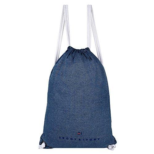 EBONY & IVORY Basic 1 Pocket Denim Drawstring Backpack - Light Indigo