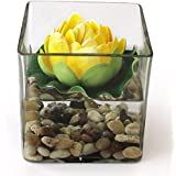 TiedRibbons Glass Vessel Square Glass Vessel With Faux Lotus And Natural Stones Flower Vases For Home Décor With Flowers