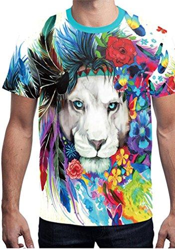 Belsen Damen Blusenbody T-Shirt, Animalprint Wolf Medium flower lion
