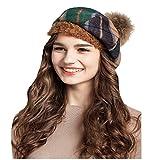 MaitoseTM Frauen Wolle schottischen Plaid Beret Grün