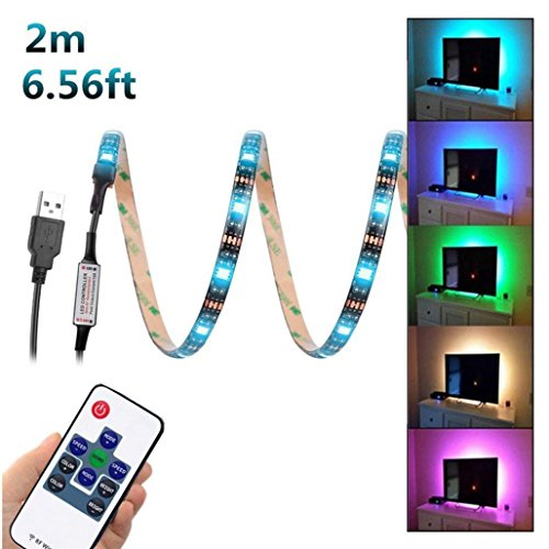 wawer 200 cm usb led Tiras Luz TV Satisfacción lámpara 5050 RGB Cambio de...
