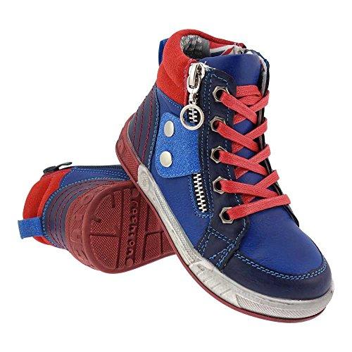 GALLUX - Kinder hohe Sneaker coole Schuhe mit Reißverschluss Applikation Blau