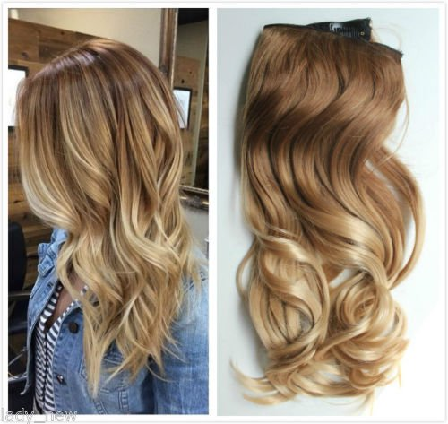 17 one piece full head clip in hair extensions ombre wavy curly 17 one piece full head clip in hair extensions ombre wavy curly light brown to sandy blonde amazon beauty pmusecretfo Images
