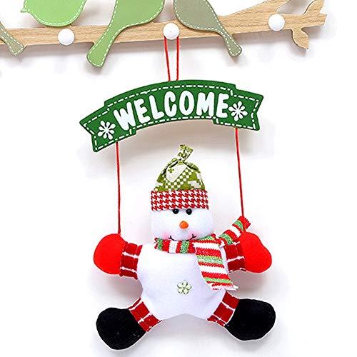 Dewanxin Türanhänger Welcome Weihnachtsmann Anhänger, Stoff Schmuck Schneemann Deko Hängend Innen und Aussen für Ihre Tür, Kamin oder Wand (Schneemann)