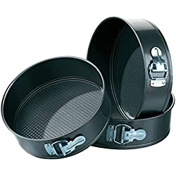 Okayji Teflon Coated  Springform Cake Mould Pan Set, 3-Pieces, Black