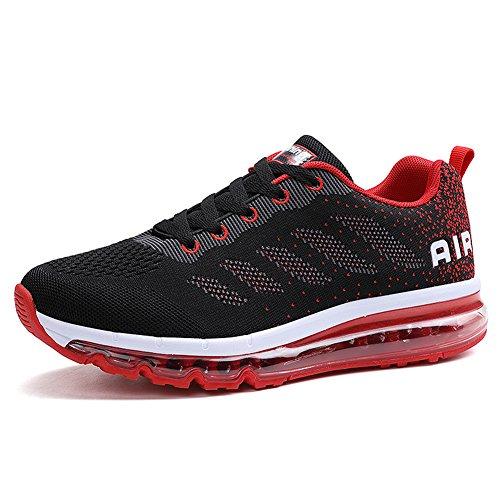 Unisex Herren Damen Sneakers Sportschuhe Bequeme Laufschuhe Schnürer Air Running Shoes 35-45(833Red46)