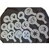 PinShang Coffee Stencils Latte Art Cappuccino Plastic Plate Template 16 Designs
