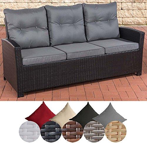 CLP Polyrattan Sofa FISOLO mit 3 Sitzplätzen I Gartensofa mit Aluminium-Gestell I Couch mit Polsterauflagen I In Verschiedenen Farben erhältlich Rattan Farbe schwarz, Bezugfarbe: Eisengrau