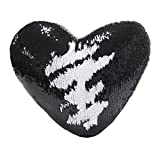 Mermaid Throw Pillow with Insert , Play Tailor Reversible Sequins Pillow Heart Shape Decorative Cushion(35x40cm,Black+White)