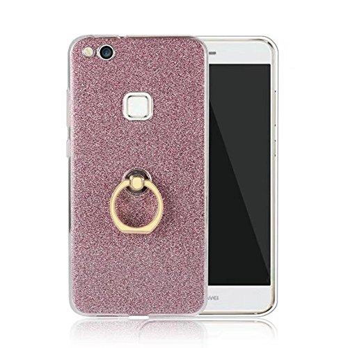 Soft Flexible TPU Back Cover Case Shockproof Schutzhülle mit Bling Glitter Sparkles und Kickstand für Huawei P10 Lite ( Color : Blue ) Pink