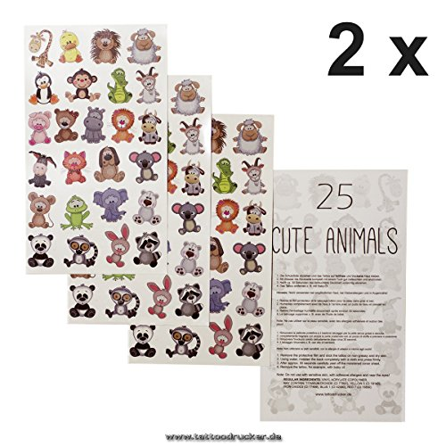 2 x Tier-Kinder Tattoo Bogen - 50 temporary Tiny Cute Animals Tattoo Sticker - Kinder Geburtstag Party (2)