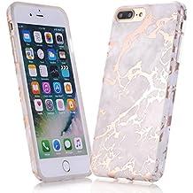 iphone 6 Funda, JIAXIUFEN Funda de Silicona Suave Case Cover Protección cáscara Soft Gel TPU Carcasa Funda para Apple iphone 6 6S - Shiny Rose Gold S Design Gray Mármol Diseño