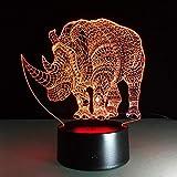QingMuMu Mignon Animal Rhinocéros Lampe Coloré Acrylique Lampe De Table pour La Fête Bébé 3D Hologramme Luminaria Veilleuse Livraison Gratuite...