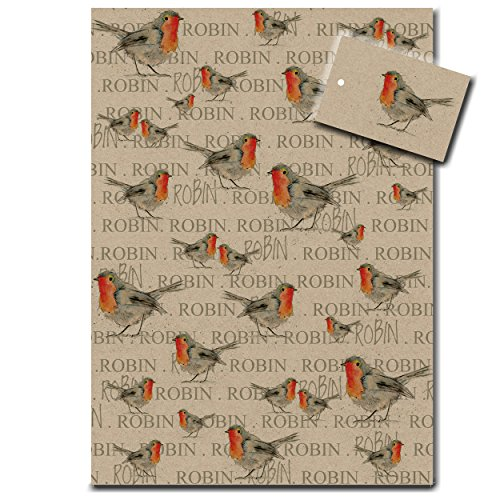 The Skinny Card Company Robin Country gift wrapping paper