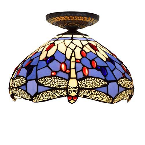 XYQS Tiffany Style Retro European Semi Flush Deckenleuchte Farbe Glas Handgefertigte Lampenschirm Libelle Muster Geeignet für Wohnzimmer Schlafzimmer Restaurant Bar Gang Korridor Coffee Shop