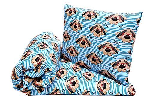 Babybett Bettwäsche Bettbezug und Kissenbezug Set 100x135, fur Baby und Kinder, 100% Baumwolle Hergestellt in Europa (Hunde)