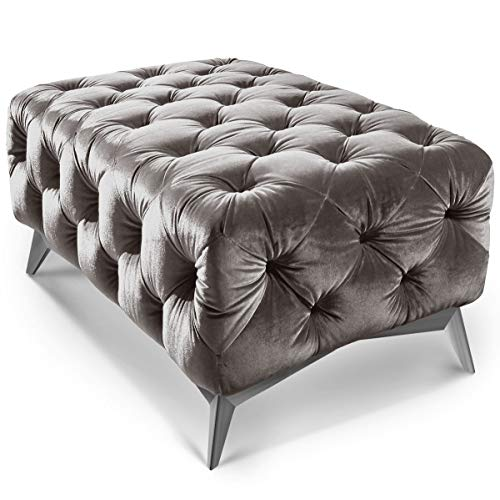 Moebella Designer Chesterfield Hocker Emma Samt Stoff Quadratisch Chrom Anthrazit Fuß Sitzbank Modern Barock (Grau, 100 x 60 cm)
