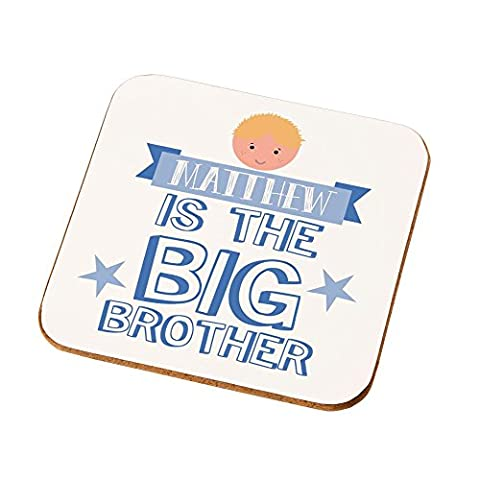 Personalised New Big Brother Drinks Coaster, Unique Pregnancy Announcement, New Baby Gifts for Boys