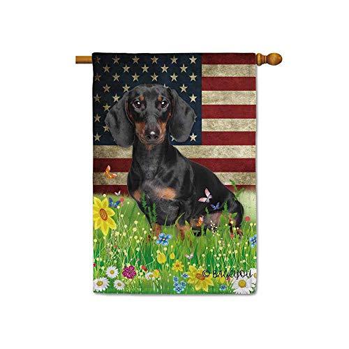 BAGEYOU Hundeflagge für Dackel, süßer Hund, amerikanische Flagge, Wildblumen, Blumengras, Frühling, Sommer, dekorativ, patriotisches Banner für draußen. Large House Flag-28x40 inch Dachshund