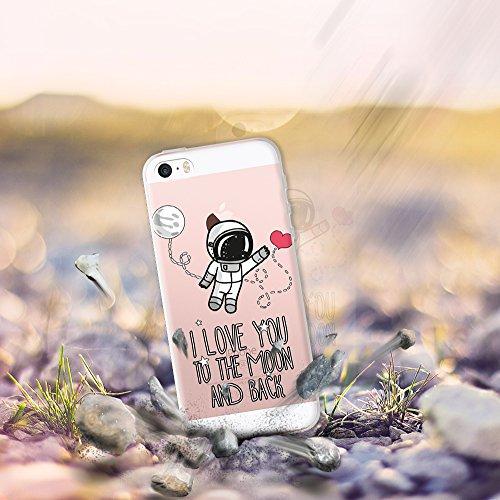 iPhone SE iPhone 5 5S Hülle, WoowCase® [ Hybrid ] Handyhülle PC + Silikon für [ iPhone SE iPhone 5 5S ] Wolf-Fußabdruck Sammlung Tierentwürfe Handytasche Handy Cover Case Schutzhülle - Transparent Hybrid Hülle iPhone SE iPhone 5 5S D0216
