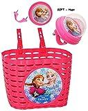 alles-meine.de GmbH 2 TLG. Set _ Fahrradkorb & Fahrradhupe -  Disney Frozen - die Eiskönigin  - Soft / Fahrradklingel - Befestigung für Lenker vorn - Fahrrad Kinder - Mädchen /..