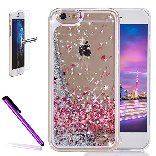 Cover rigida trasparente con liquido e brillantini, effetto 3D, per iPhone 6S Plus (2015) e iPhone 6Plus (2014) da 5,5 pollici, con 1 pellicola salvaschermo e 1 pennino capacitivo Silver : Painted Colorful LOVE