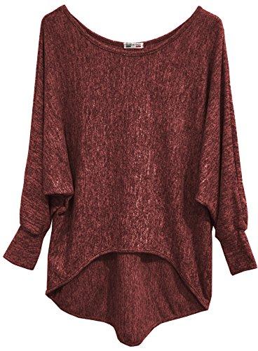 Emma & Giovanni - Basic Langarmshirt/Pullover- Damen (EU38/40/M, Bordeaux)