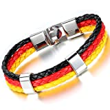 Cupimatch Damen Herren Deutsch Flagge Emblem Armband, geflochten Weltmeisterschaft Manschette Kordelarmband Armband, schwarz rot gelb