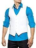 Reslad Herren Weste ärmellose Männer V-Ausschnitt Kellner Hochzeit Anzug Business Westen Slim Fit Taschen K-235 Weiß M