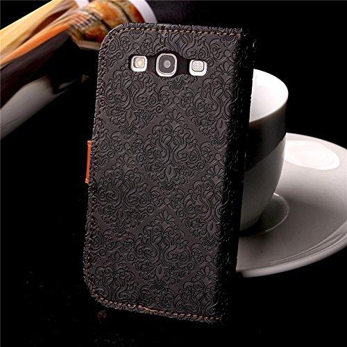 YHUISEN Galaxy S3 Case, Magnetverschluss European Style Wandgemälde Prägeartig PU Leder Flip Wallet Case Mit Stand Und Card Slot Für Samsung Galaxy S3 I9300 ( Color : Rose Gold ) Black