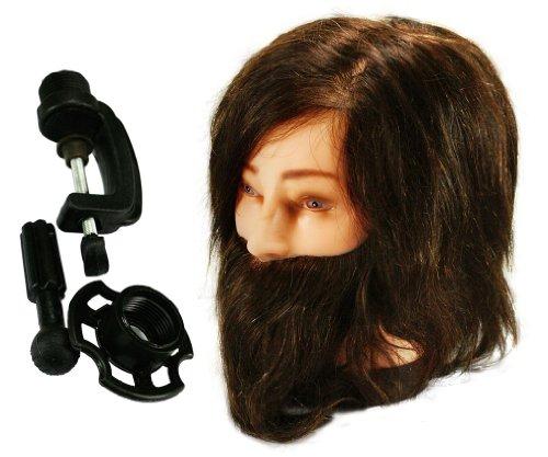 100% Professionnel Tête à Coiffer Long Brun Vrais Cheveux Coiffure Mannequin w/ barbe + Étau