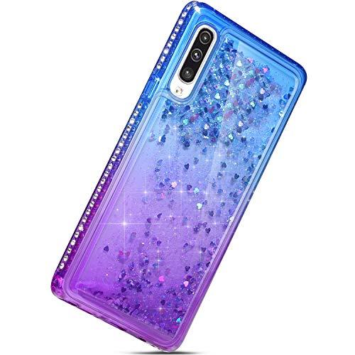 Herbests Kompatibel mit Samsung Galaxy A50 Handyhülle Bling Glitzer Diamond Dynamisch Treibsand Fließend Flüssigkeit Transparent Hülle TPU Silikon Handyhülle Liquid Tasche,Blau + Lila