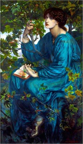 Leinwandbild 40 x 70 cm: Tagtraum von Dante Charles Gabriel Rossetti - fertiges Wandbild, Bild auf Keilrahmen, Fertigbild auf echter Leinwand, Leinwanddruck