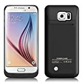 MPTEK @ Schwarz 4200 mah Akkuhülle Batterie Hülle Case externe Batterie Akku Case Hülle Zusatzakku Power Pack Cover für Samsung Galaxy S6 Edge samsung S6 edge G925 G925A G925F 5,1