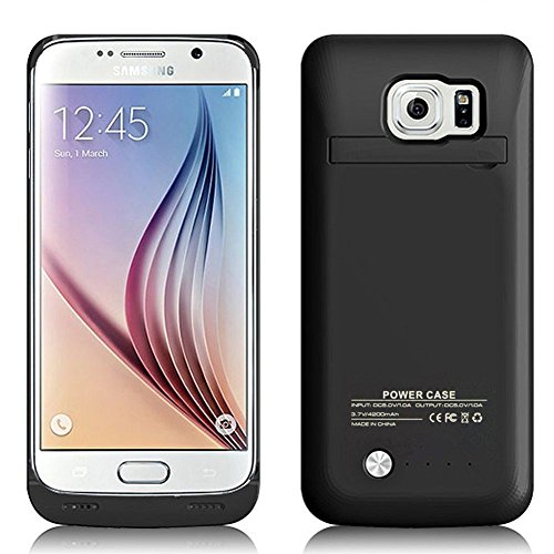 galaxy s6 akku MPTEK @ Schwarz 4200 mah Akkuhülle Batterie Hülle Case externe Batterie Akku Case Hülle Zusatzakku Power Pack Cover für Samsung Galaxy S6 Edge samsung S6 edge G925 G925A G925F 5,1