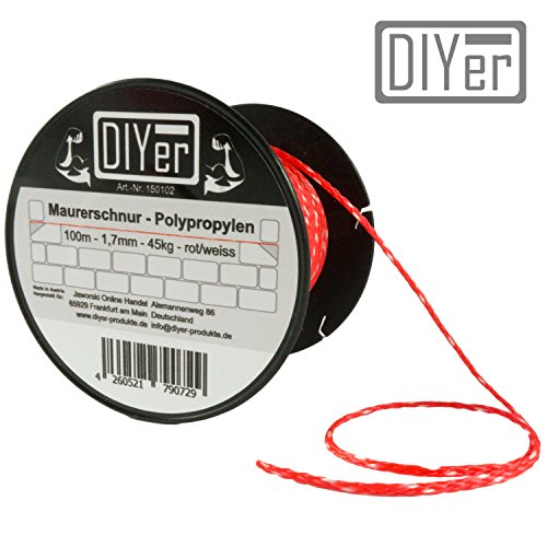 DIYer® - Premium Maurerschnur Mehrzweckseil Richtschnur Schnur - 1,7mm - 100m - ca. 45kg (daN) - Polypropylen - Farbe rot/weiß - Made in AT