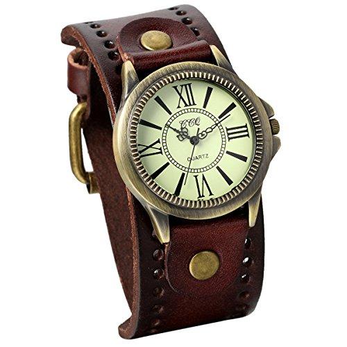 JewelryWe Damen Armbanduhr Vintage Casual Analog Quarz Leder Band Uhr mit römischen Ziffern Zifferblatt Braun (Vintage Band Leder Uhr)