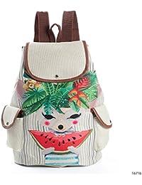 Casual Canvas School Backpack Women Lovely Cat Prented Drawstreng Backpack Teenager Large Capacity Ladies School Bag