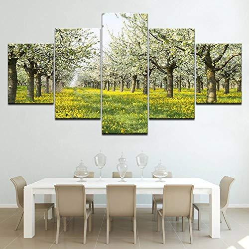 Bäume Und Gelbe Blumen Landschaft 5 Panels Hd Print Wall ArtModular Poster Kunst Leinwand Malerei Wohnzimmer Home Decor Rahmenlose -