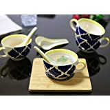 Kittens Food Grade Ceramic Handpainted Blue and Yellow Soup Bowls with Spoons - Set of 4
