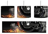 Dark Brennender Harley Reifen inkl. Lampenfassung E27, Lampe mit Motivdruck, tolle Deckenlampe, Hängelampe, Pendelleuchte - Durchmesser 30cm - Dekoration mit Licht ideal für Wohnzimmer, Kinderzimmer, Schlafzimmer