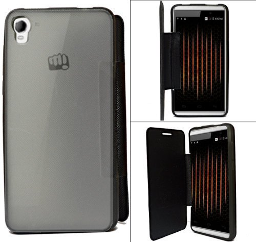 Micromax Canvas Fire 2 A104 Premium Flip Cover Diary Folio Flap Case Cover - Black  available at amazon for Rs.154
