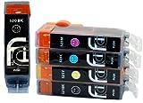 5x Canon PGI-520 / CLI-521 FCI Compatible Printer Ink Cartridges (Contains: 1x 520BK Large Black, 1x 521C Cyan, 1x 521M Magenta, 1x 521Y Yellow, 1x 521BK Small Black) Double Capacity Inks