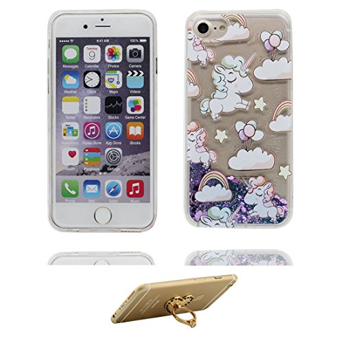 "iPhone 6S Coque, Skin Hard Clear étui iPhone 6 / 6S, cheval- Design Glitter Bling Sparkles Shinny Flowing iPhone 6 Case Shell 4.7"", résistant aux chocs et ring Support # 5"