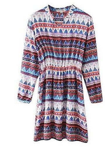 PU&PU Robe Aux femmes Ample / Gaine Simple,Imprimé Col en V Au dessus du genou Polyester BLUE-XL