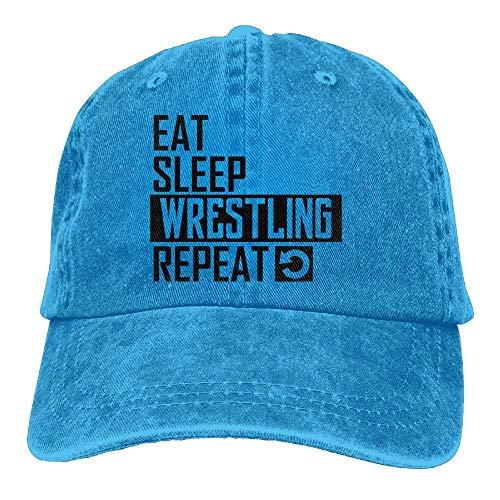 Herren Damen Baseball Caps,Hüte, Mützen, Eat Sleep Wrestling Repeat Denim Hat Adjustable Unisex Cute Baseball Hats