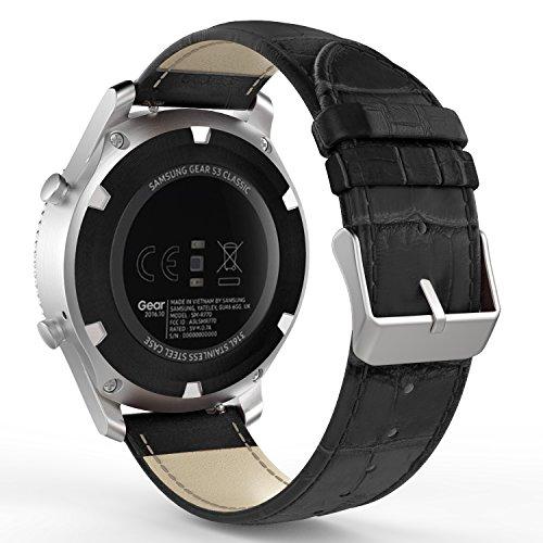 MoKo Gear S3 Watch Cinturino, Braccialetto di Ricambio in Vera Pelle in Motivo Coccodrillo per Samsung Gear S3 Frontier/S3 Classic/Galaxy Watch 46mm/Moto 360 2nd Gen 46mm, Nero