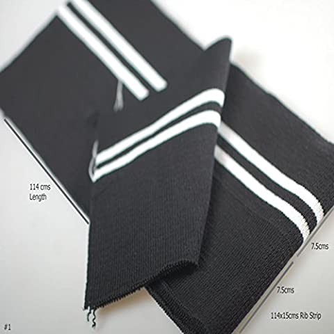 Neotrim Knit Rib Cuff Waistband with Stripes Trimming, Bomber Jackets Ribbing Welt and Neck Band Ribs for Jackets, Bombers or any Apparel Garments Edging. Stretch Resilient Ribs. Limited Stocks, Supplied as 2 Strips, Great Value! - Black/ 2 White Stripe, 114X15 -