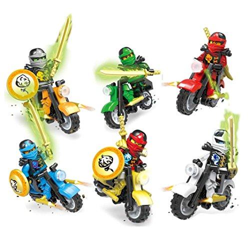 Ninjago Zane (Omiky® 6 X Minifiguren Ninjago Spielzeug Ninja Zane KAI Lloyd Motorrad Chariot Blocks Z017)