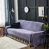DW&HX Plüsch Sofabezug,1-Teilige Vintage Spitze Wildleder Couch-Abdeckung Anti-Rutsch Möbel Protector Für 1 2 3 4 Sofas Kissen-lila 200x380cm(79x150inch)